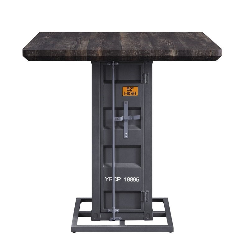 Cargo Antique Walnut & Gunmetal Counter Height Table