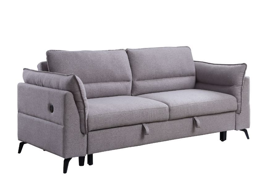 USB Port Gray Fabric Sofa w/ Sleeper