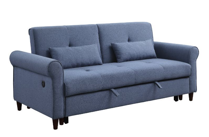 USB Port Blue Fabric Sofa w/ Sleeper