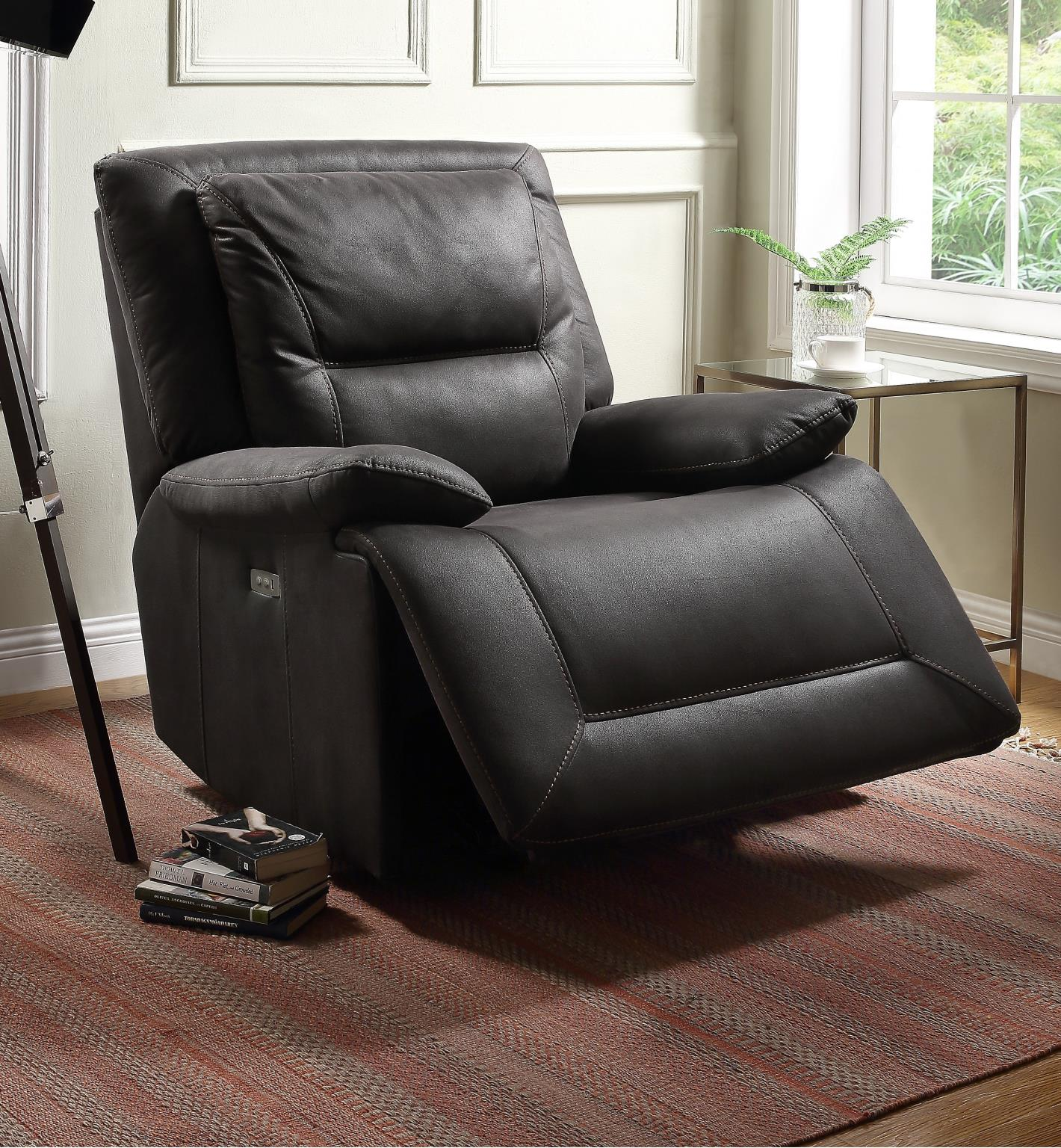Neely Charcoal Power Motion Recliner - KTL Furniture