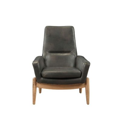 Black Leather Accent Chair - KTL Furniture
