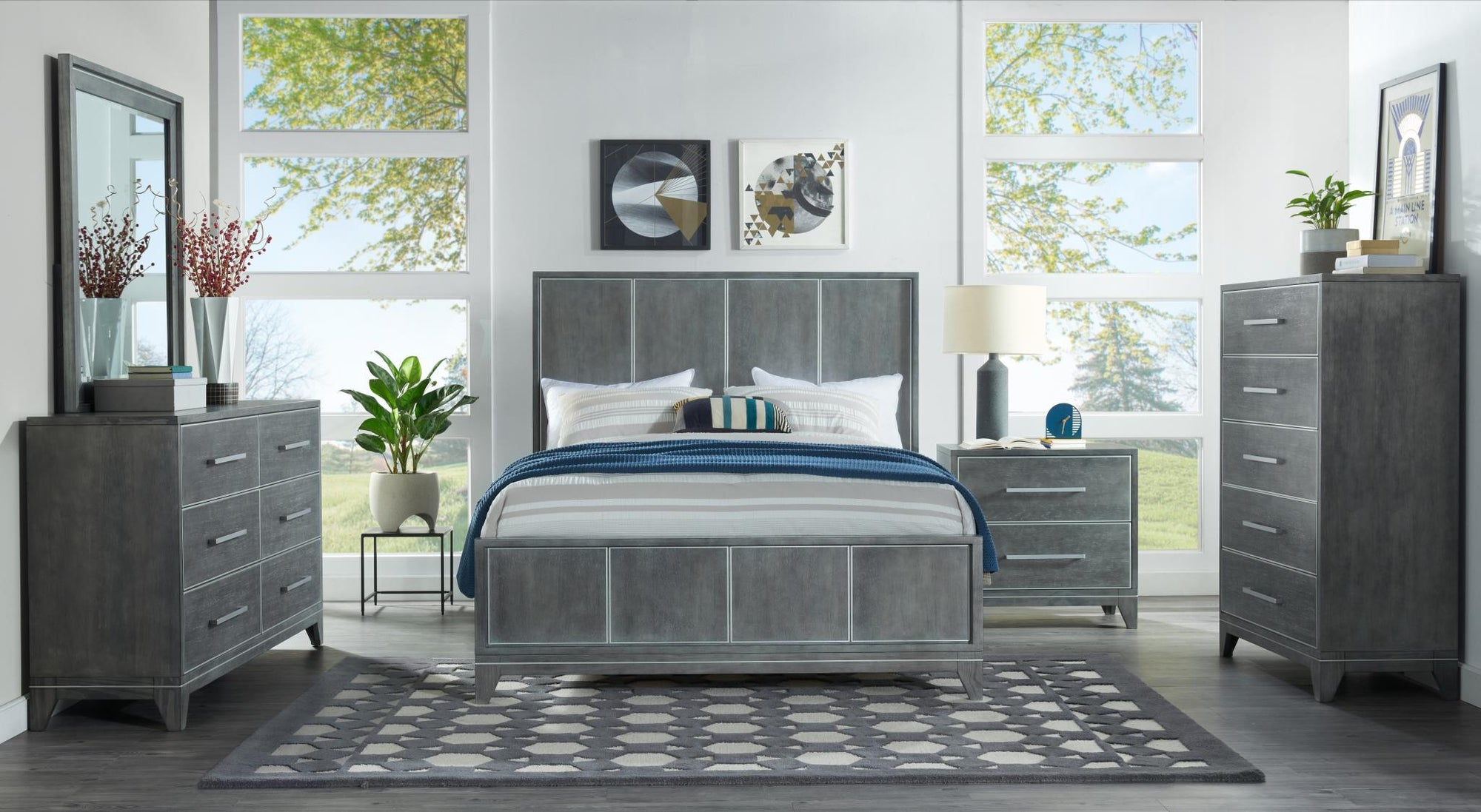 Slate Grey 4PC Bedroom Set - KTL Furniture