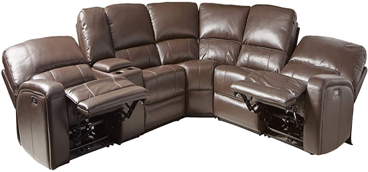Saul Leather-Aire Sectional Power Motion Sofa w/ USB Docks