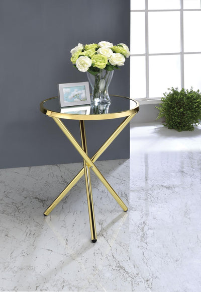 Majita Gold Round End Table / Side Table - KTL Furniture