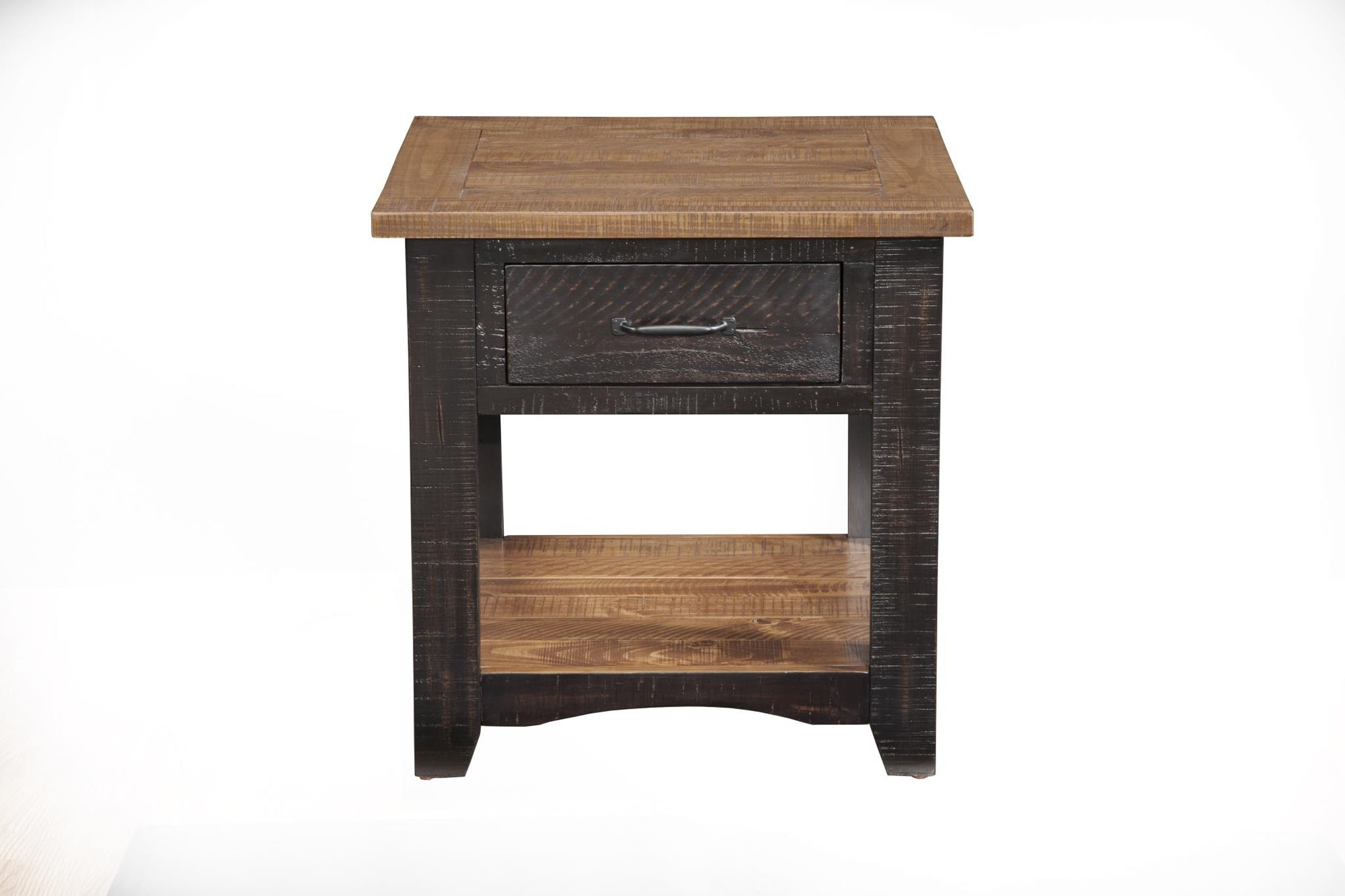 Rustic occasional Nightstand/End table - Black & Honey tabacco - KTL Furniture
