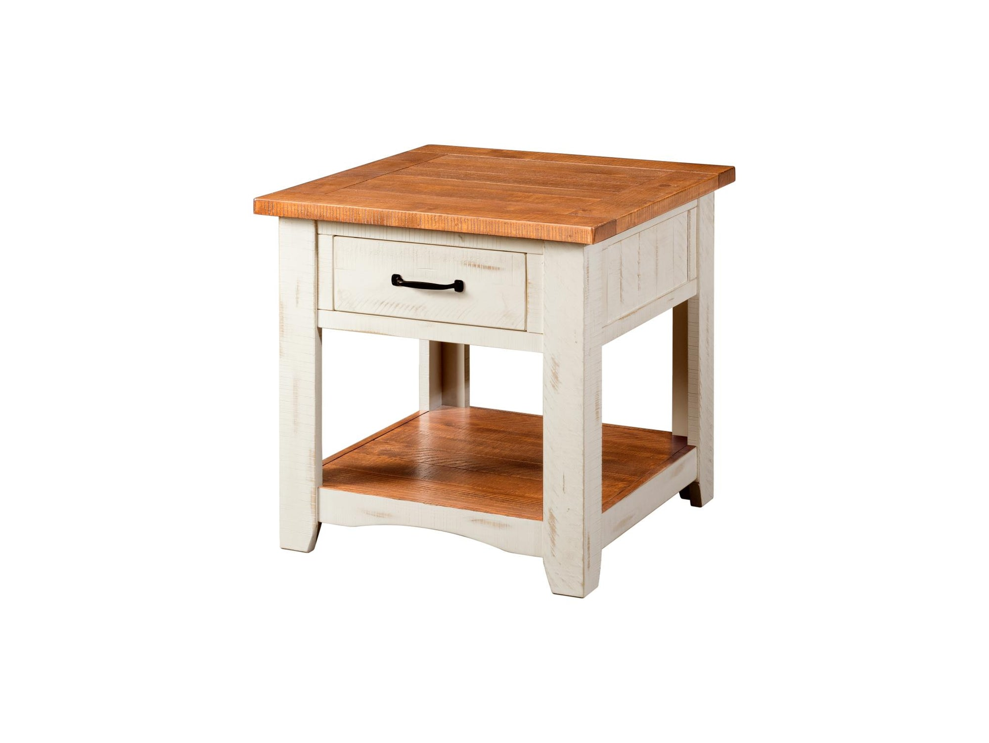 Rustic Occasional Nightstand/End Table - Antique white & honey