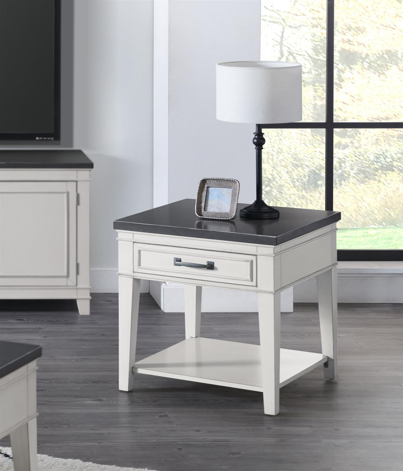 Del Mar Occasional Nightstand/End table - White Grey - KTL Furniture