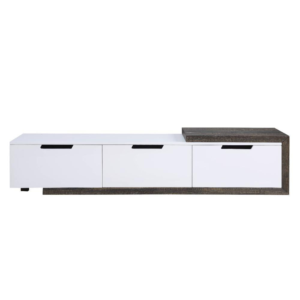 Orion White High Gloss & Rustic Oak TV Stand