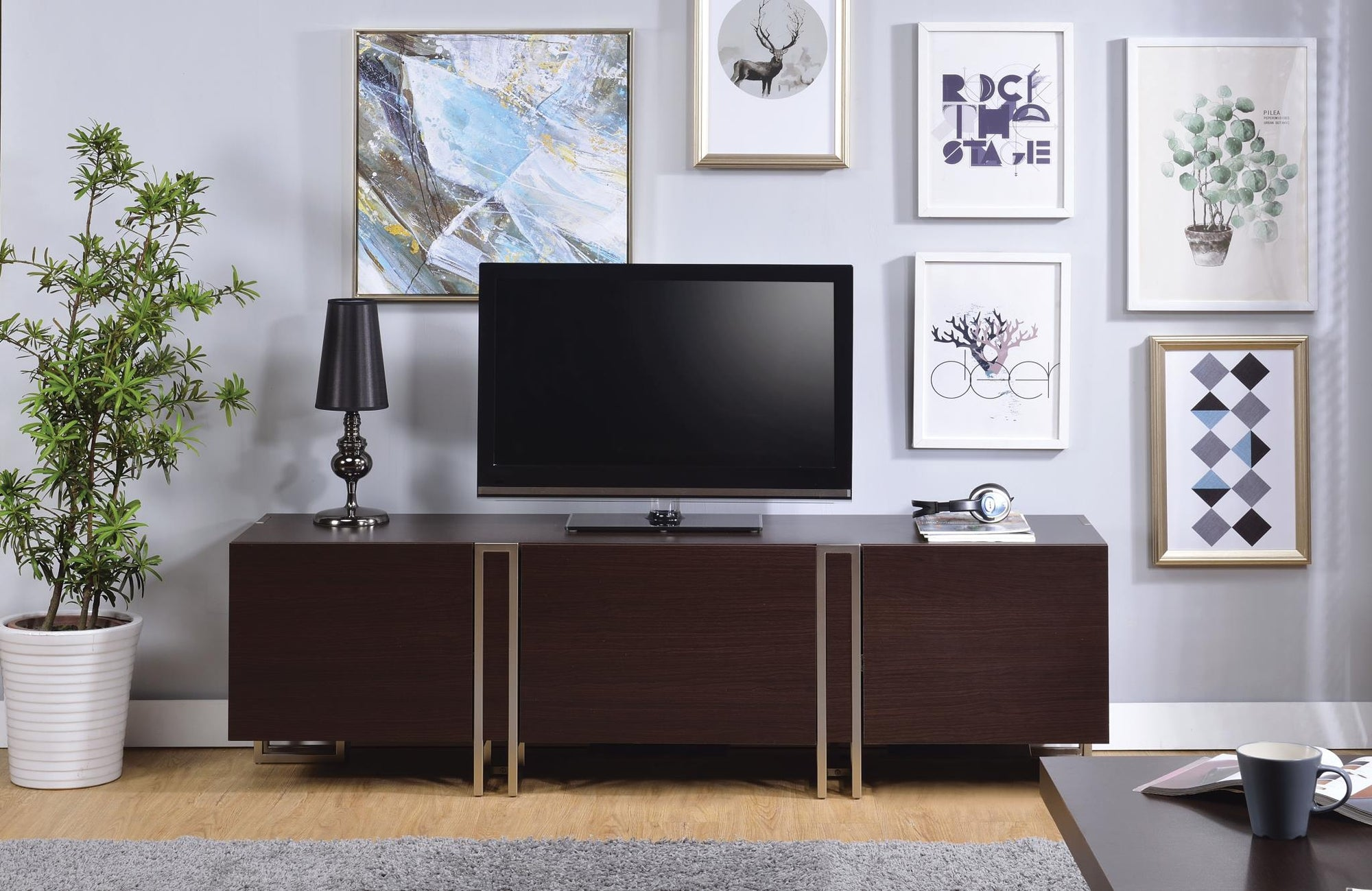 De Largo Dark Walnut & Nickel TV Stand