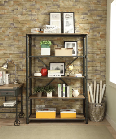 Itzel Antique Oak & Sandy Gray 4 Tiers Bookshelf - KTL Furniture