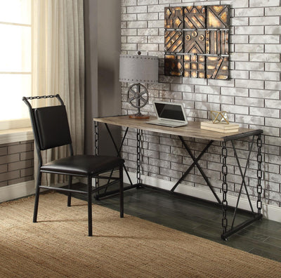 Jodie Rustic Oak & Antique Black Office Desk - KTL Furniture