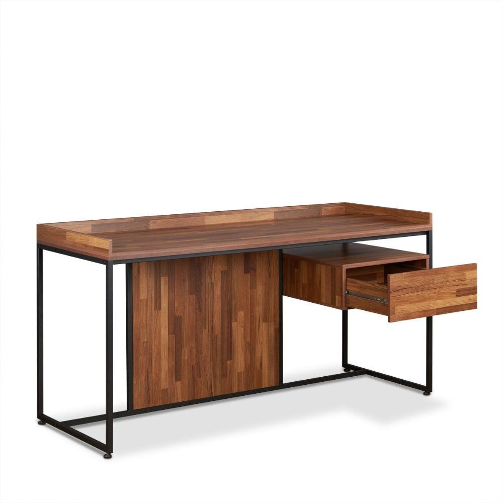 Sara Walnut & Sandy Black 1 Drawer Office Desk