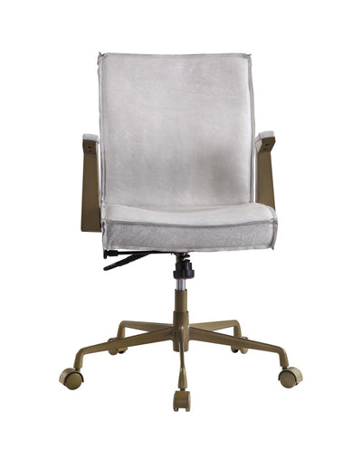 Larkin Vintage White Top Grain Leather Executive Office Chair - KTL Furniture