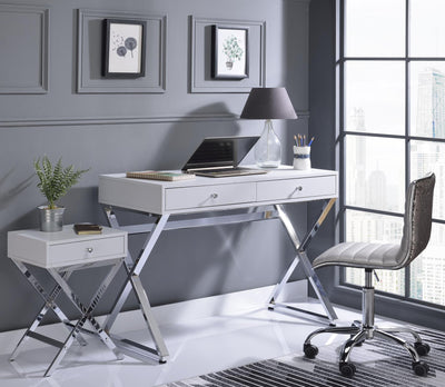 Rectangular Gold & Chrome Metal X-Leg Desk - KTL Furniture