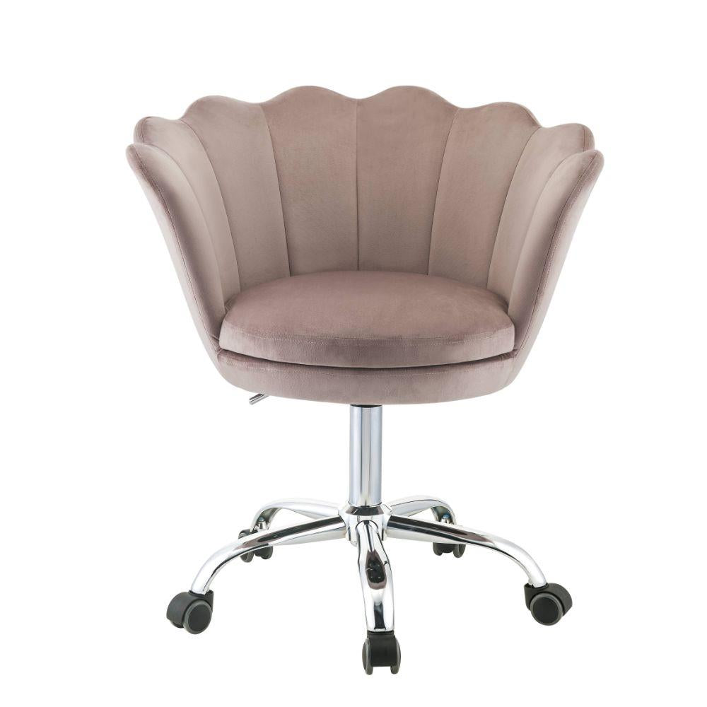 Micco Rose Quartz Velvet & Chrome Barrel Office Chair