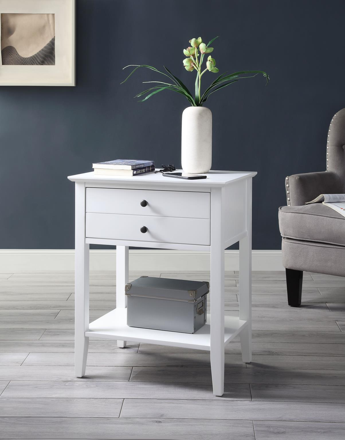 Shasta White Side Table w/ USB Dock - KTL Furniture