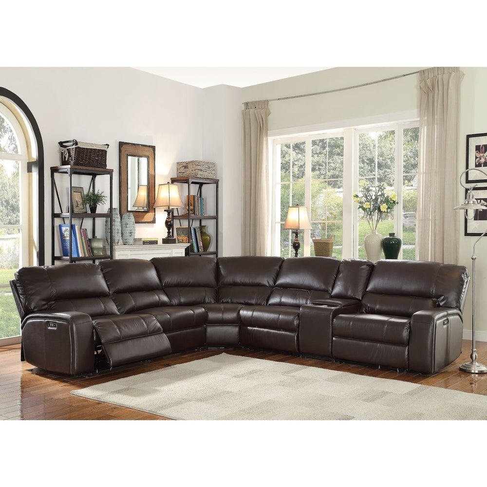 Tavin Leather-Aire Sectional Motion Sofa