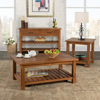 Barn Door Occasional End Table - Honey Tabacco - KTL Furniture