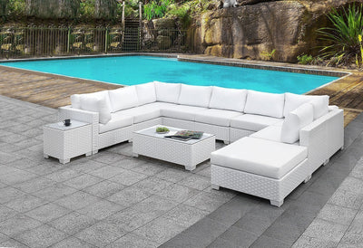 White Patio Coffee Table - KTL Furniture