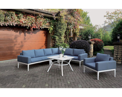 White/Blue Patio Arm Chair - KTL Furniture
