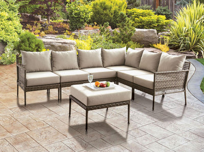 Gray Beige Patio Sectional w/ Ottoman - KTL Furniture