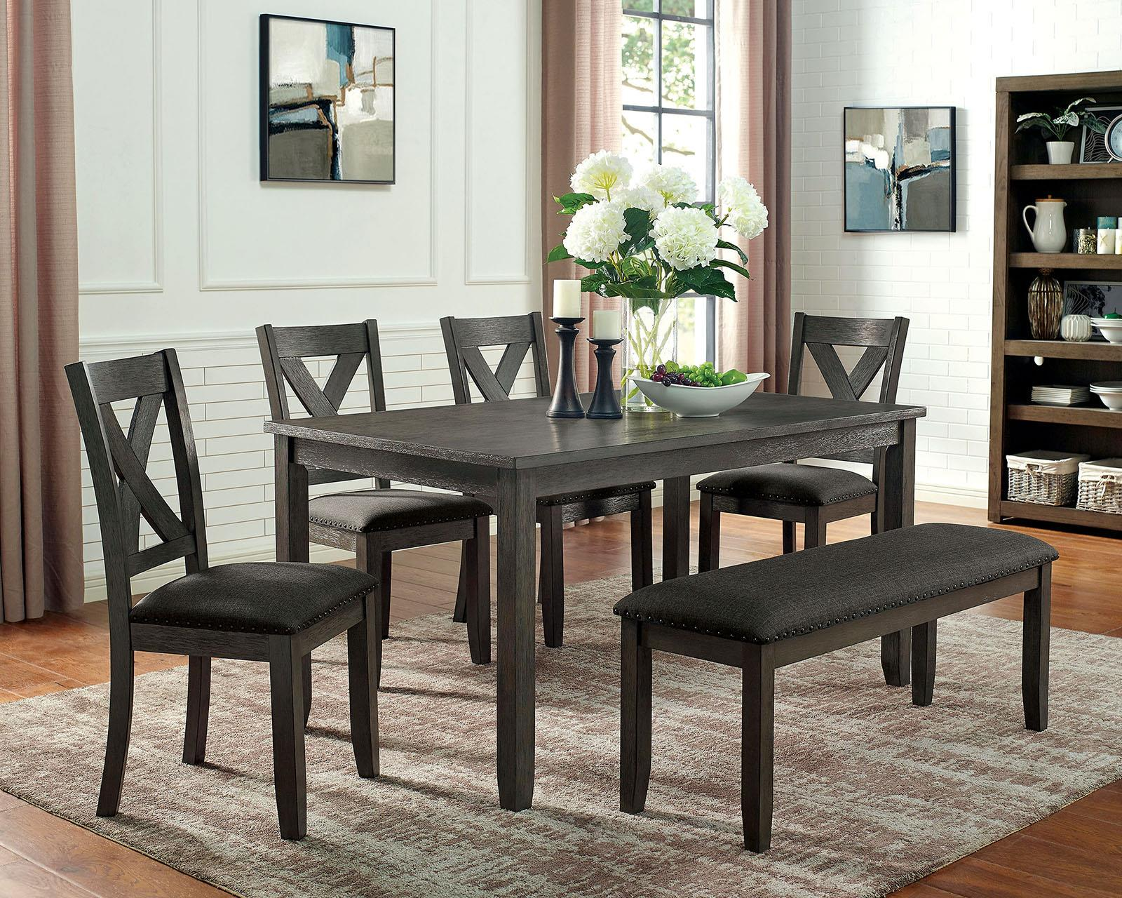 Cilgerran I Dark Gray 6PC Dining Set w/ Bench - KTL Furniture