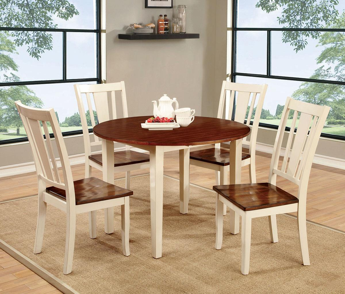 Dover II White Cherry Round 5PC Dining Set - KTL Furniture