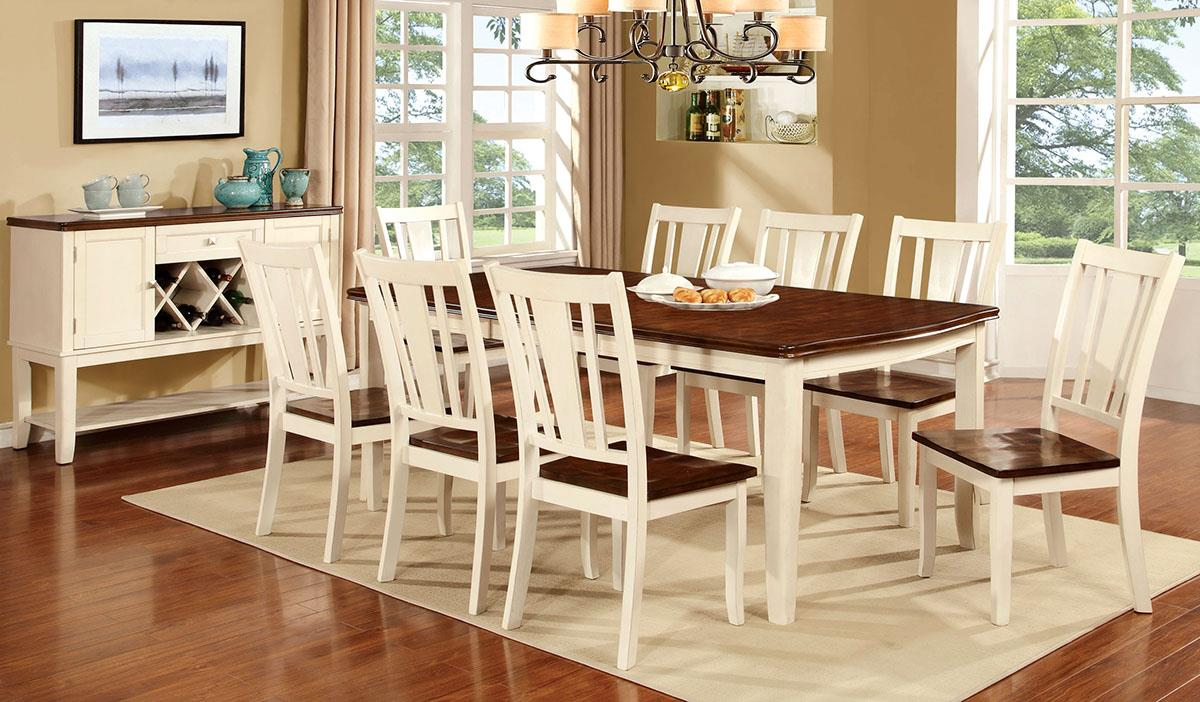 Dover White Cherry 9PC Dining Set - KTL Furniture