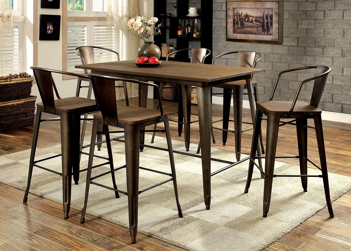 Cooper II Espresso Counter Height 7PC Dining Set - KTL Furniture