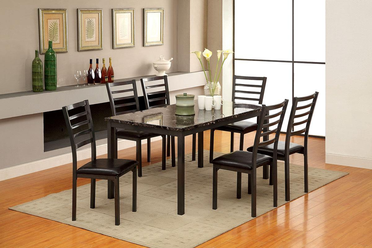 Colman Black 7PC Dining Set - KTL Furniture