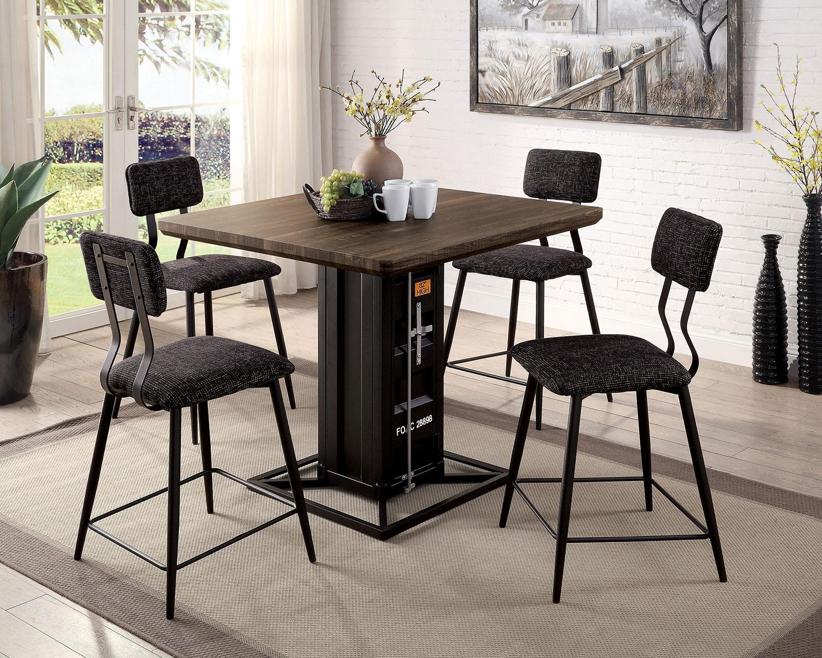 Dicarda Sand Black 5PC Dining Set - KTL Furniture