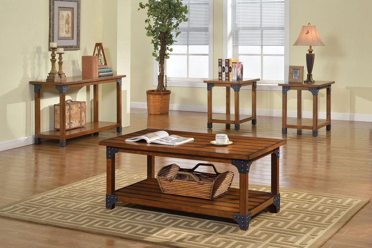 Bozeman Antique Oak Coffee Table 3 PC Set - KTL Furniture