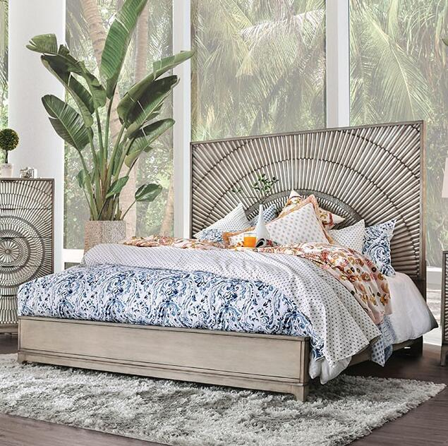 Bali Bamboo Antique Gray Bed Frame - KTL Furniture