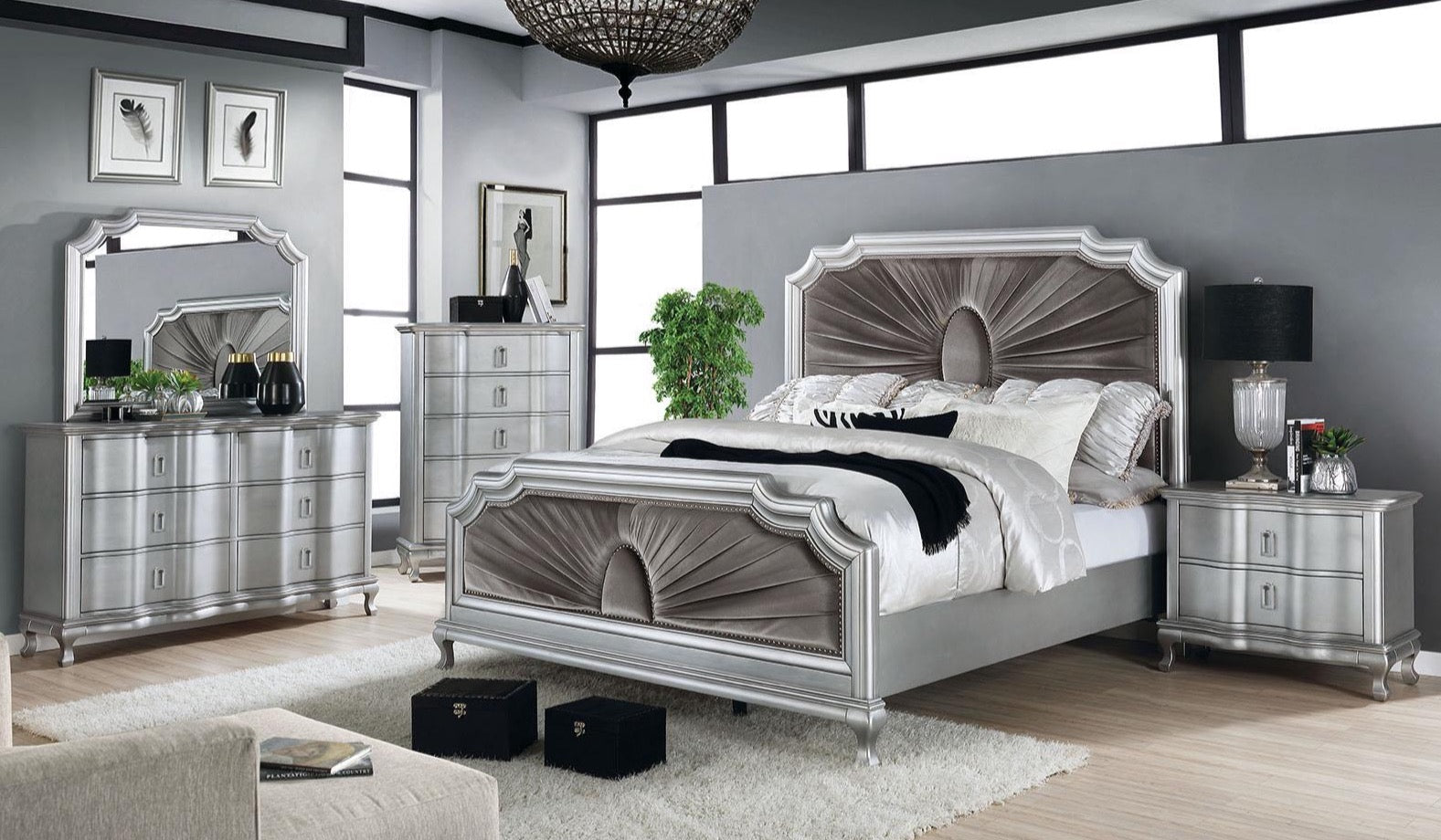 Silver Warm Gray 4PC Bedroom Set - KTL Furniture