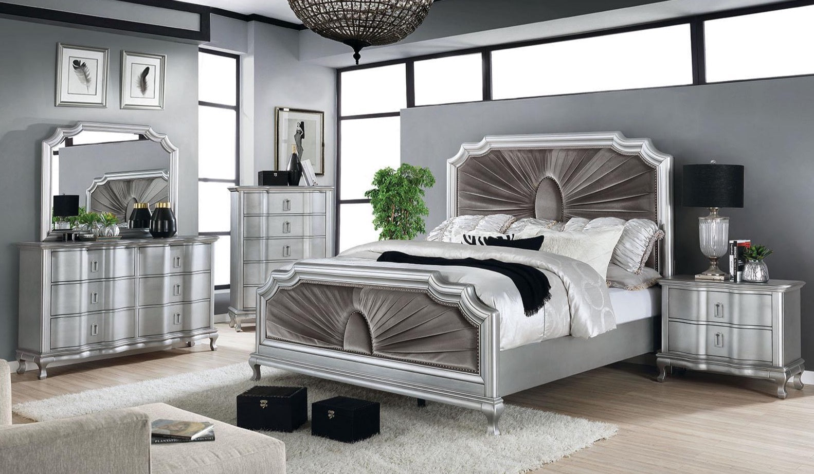 Silver Warm Gray 5PC Bedroom Set w/ Chest - KTL Furniture