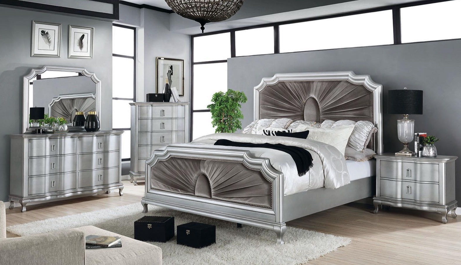 Silver Warm Gray 5PC Bedroom Set w/ 2NS - KTL Furniture