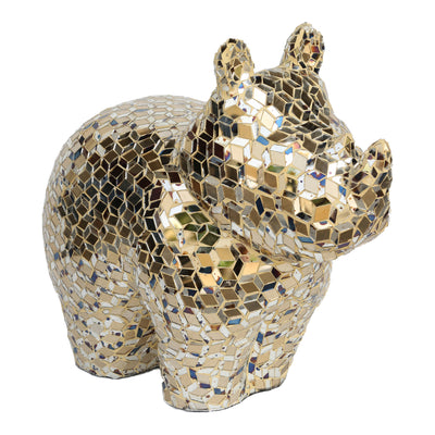 Ecomix Gold Mirror Mosaic Rhino Sculpture - KTL Furniture