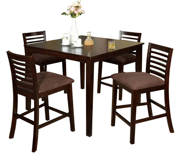 Eaton Espresso Counter Height 5PC Dining Set - KTL Furniture