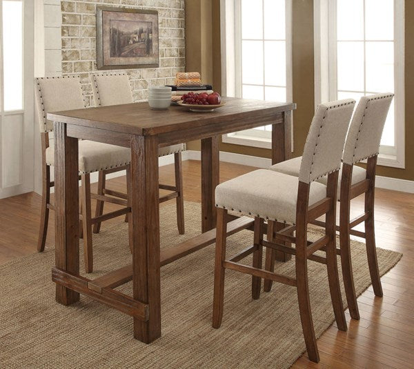 Natural Tone Counter Height 5PC Bar Table Set - KTL Furniture