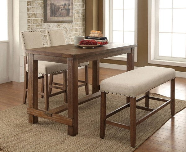 Natural Tone Counter Height 4PC Dining Set w/ Bench - KTL Furniture
