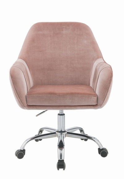 Loffel  Peach Velvet & Chrome Office Chair - KTL Furniture