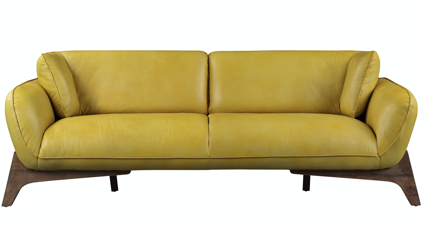 Pesach Sofa - Mustard Leather