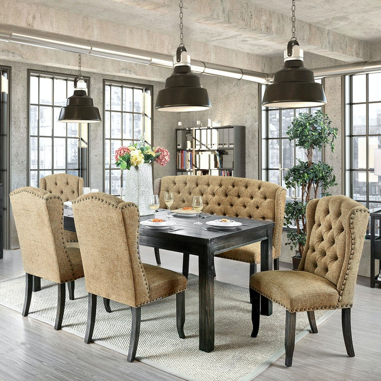 Gold 7PC Dining Set (Table and 6 Chairs) - KTL Furniture