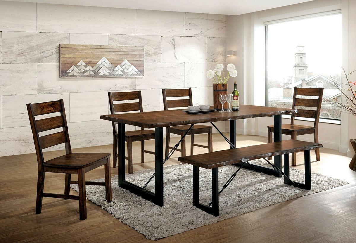 Dulce Walnut 6PC Dining Set w/ Bench - KTL Furniture