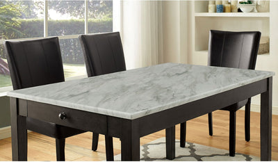 Abby Solid Wood White/Dark Gray Dining Table - KTL Furniture