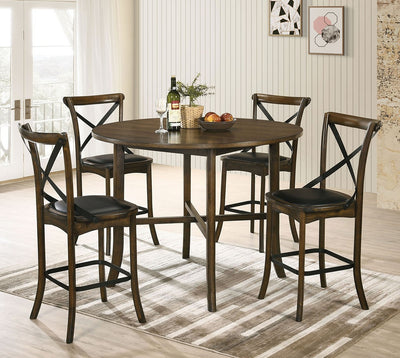 Buhl I Burnished Oak Counter Height Round 5PC Dining Set - KTL Furniture