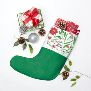 Merry Christmas Red White and Green Personalized Christmas Stockings