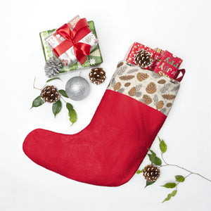 Red Pine cones Stocking Personalized Christmas Stockings