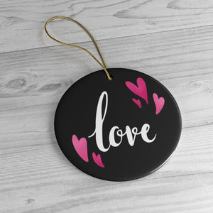 I Love You Christmas Ceramic Black and Pink  Ornaments
