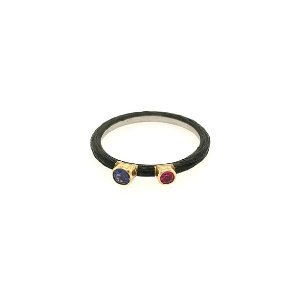 Pebble Stacking Band Cobalt Chrome with Sapphires